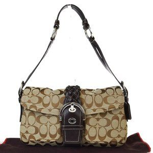 Coach Signature 06314 Canvas,Leather Shoulder Bag